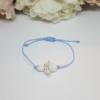 Kép 2/2 - Fehér jáde ásvány angyal medálos zsinór karkötő