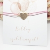 Kép 2/2 - Strasszos szív medálos karkötő születésnapi kísérőkártyával