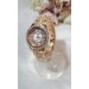 Kép 2/4 - Fémszíjas karóra, strasszokkal díszítve rose gold