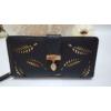 Kép 1/5 - Levél mintás nagy méretű női pénztárca fekete