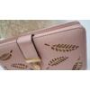 Kép 2/5 - Levél mintás nagy méretű női pénztárca rózsaszín