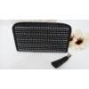 Kép 1/3 - Strasszos fekete pénztárca bojt dísszel