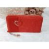 Kép 1/5 - Csipke virág mintás női pénztárca szivecske dísszel piros