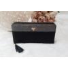 Kép 1/5 - Róka díszes egyszínű női pénztárca fekete