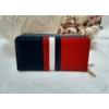Kép 1/7 - Kék fehér piros csíkos vastag dupla cipzáros női pénztárca