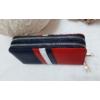 Kép 2/7 - Kék fehér piros csíkos vastag dupla cipzáros női pénztárca