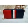 Kép 3/7 - Kék fehér piros csíkos vastag dupla cipzáros női pénztárca