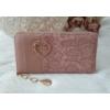 Kép 1/5 - Csipke virág mintás női pénztárca szivecske dísszel rózsaszín