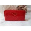 Kép 1/5 - Négyzet mintás vastag nagy méretű női pénztárca lakk piros