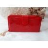 Kép 3/5 - Négyzet mintás vastag nagy méretű női pénztárca lakk piros