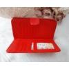 Kép 4/5 - Négyzet mintás vastag nagy méretű női pénztárca lakk piros