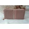Kép 1/5 - Csíkos mintás egyszínű női pénztárca rózsaszín