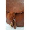 Kép 2/5 - Merev falú elegáns női hátitáska pom pom dísszel barna