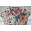 Kép 2/5 - Flamingó virág mintás elegáns női táska fehér