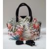 Kép 1/5 - Flamingó virág mintás elegáns női táska fekete