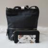 Kép 1/10 - Black flower táska pénztárca szett
