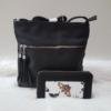 Kép 1/11 - Black flower táska pénztárca szett