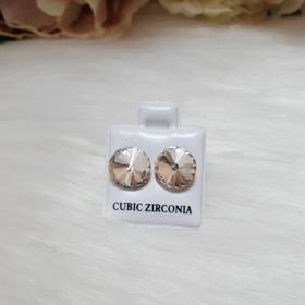Zirconia nagy strasszköves bedugós fülbevaló 10 mm fehér