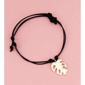 Levél medálos karkötő fekete
