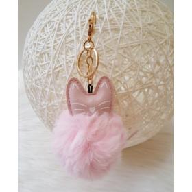 Cicás pom pom kulcstartó rózsaszín