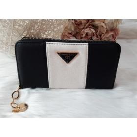 Csíkos mintás női pénztárca fekete