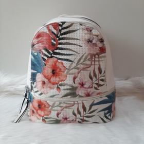 Flamingo virág mintás elegáns női hátitáska fehér