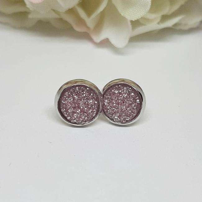Bedugós fülbevaló 8 mm rózsaszín