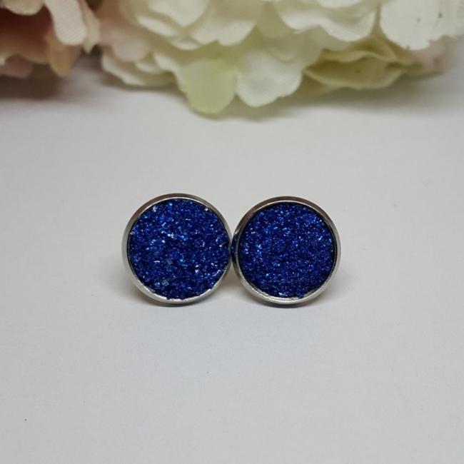Kék rozsdamentes acél fülbevaló 12 mm
