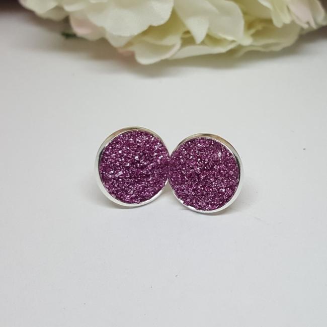 Bedugós fülbevaló 12 mm sötét rózsaszín