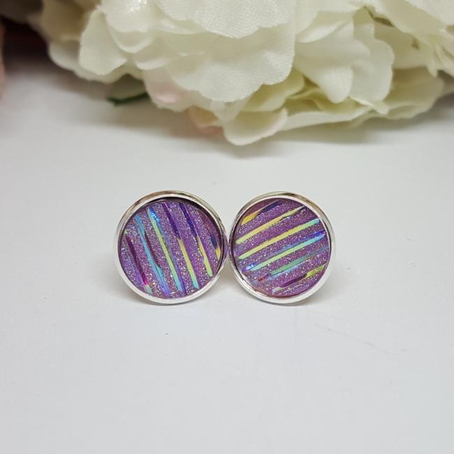 Bedugós fülbevaló 12 mm lila