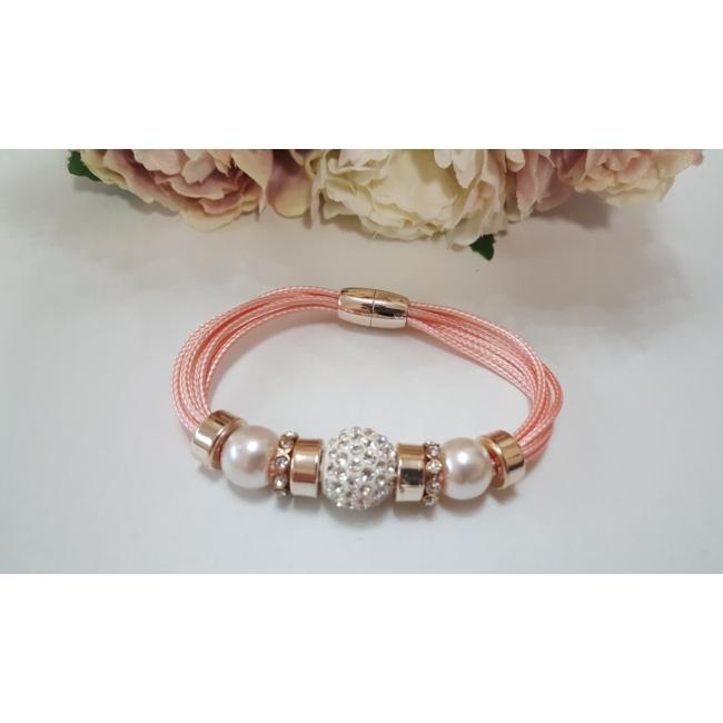 Shamballa köves karkötő rózsaszín