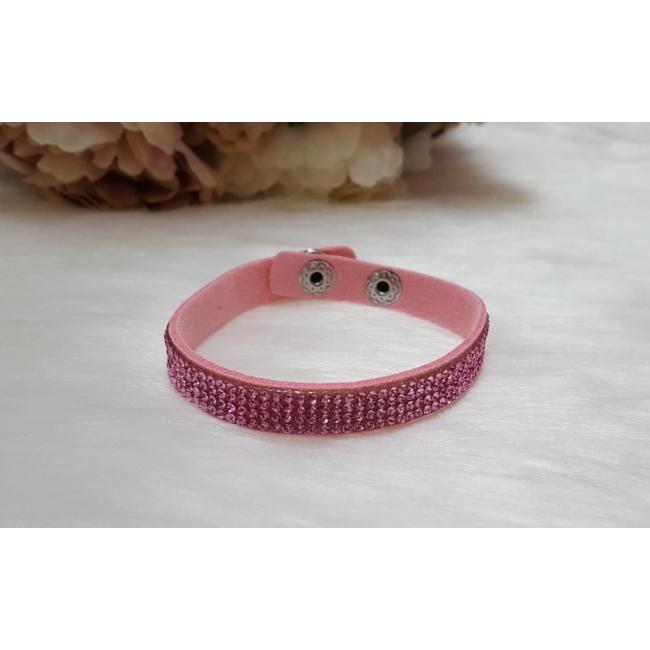 Strasszköves karkötő rózsaszín