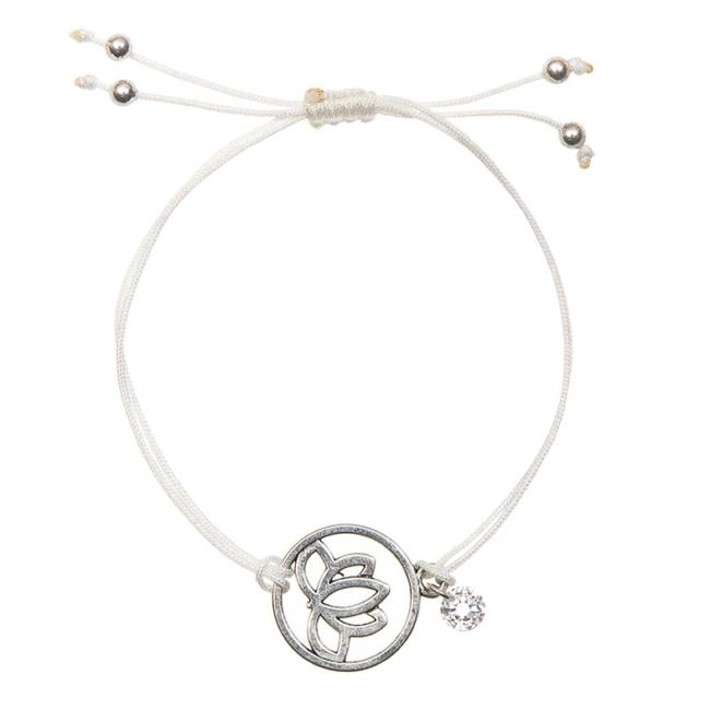 Mandala virágos medálos karkötő fehér