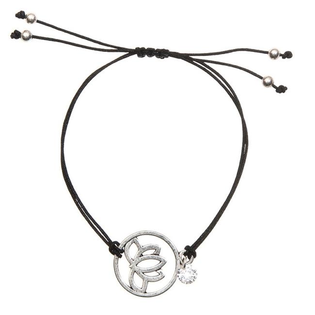 Mandala virágos medálos karkötő fekete