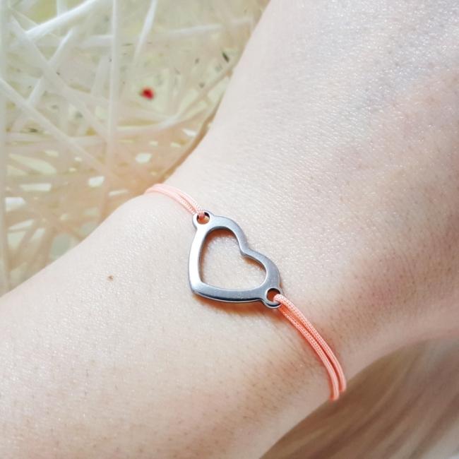 Szív medálos zsinór karkötő rozsdamentes acél