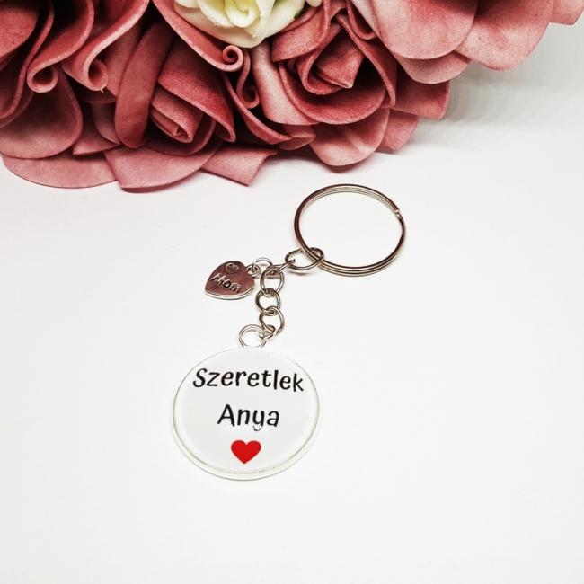 Szeretlek Anya feliratos kulcstartó