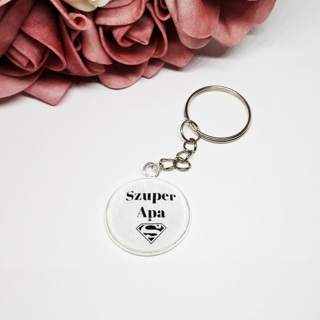 Szuper Apa feliratos egyedi kulcstartó