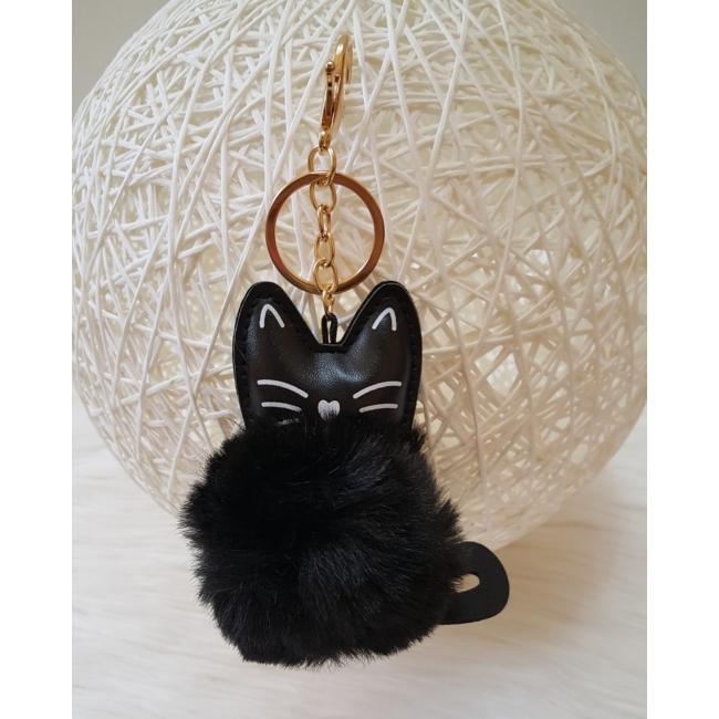 Cicás pom pom kulcstartó fekete
