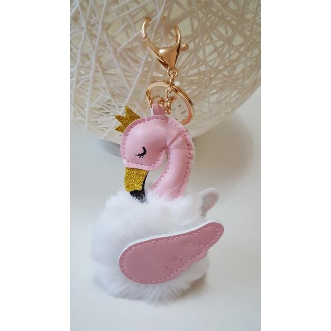 Flamingós pom pom kulcstartó fehér