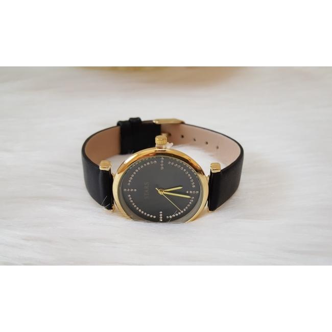 Strasszköves díszítésű műbőr szíjas női óra fekete