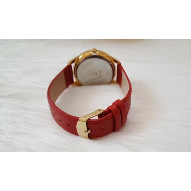 Strasszköves díszítésű műbőr szíjas női karóra piros