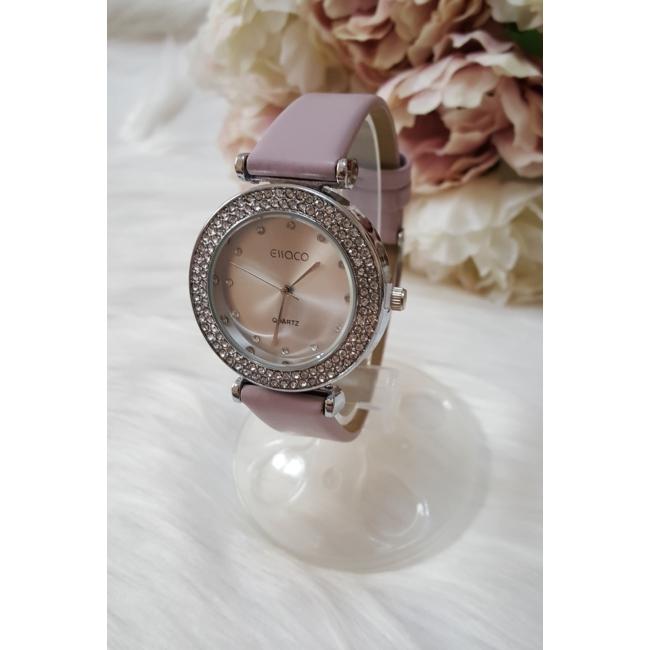 Strasszköves díszítésű elegáns női óra lila