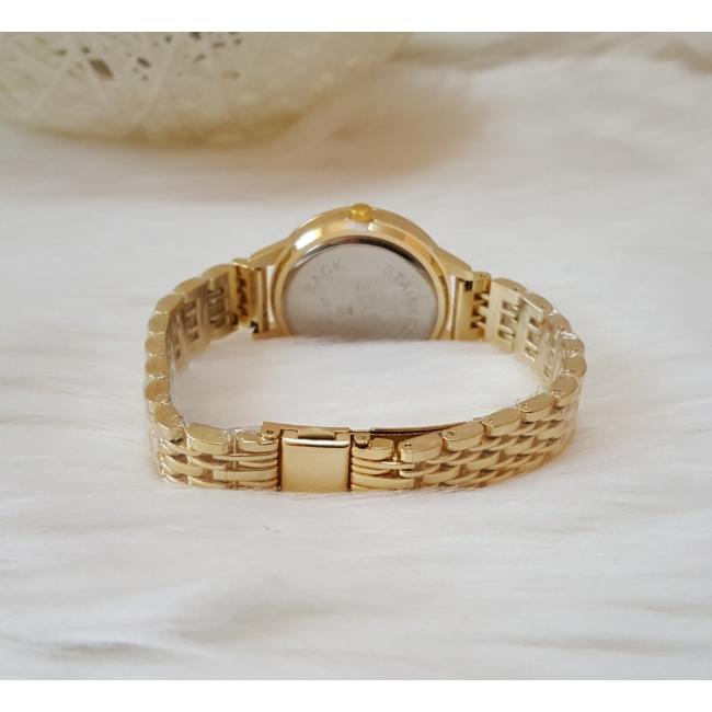 Strasszköves fém szíjas női karóra arany szín