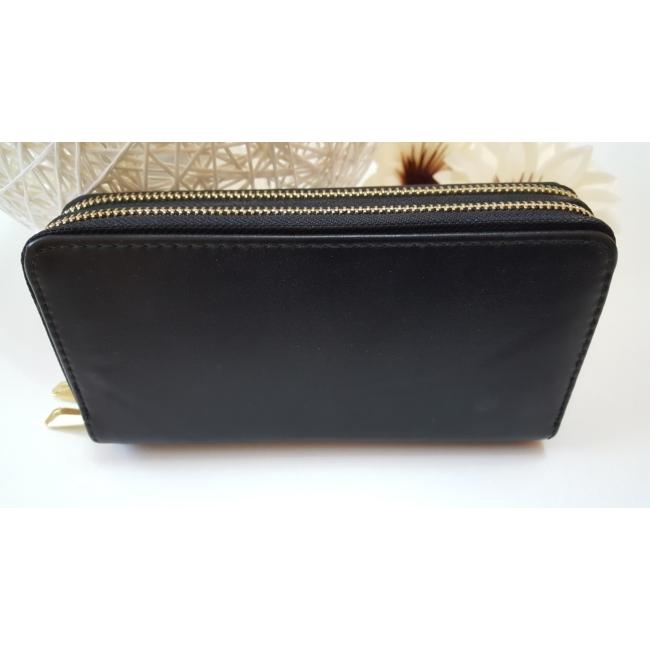 Dupla fakkos vastag pakolós női pénztárca fekete