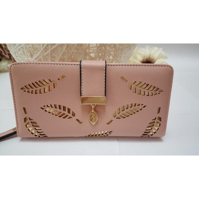 Levél mintás nagy méretű női pénztárca rózsaszín