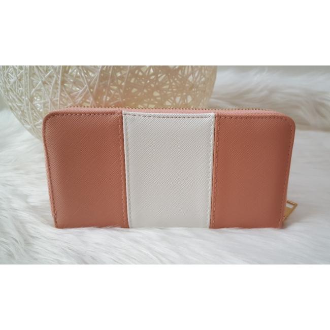 Rózsaszín fehér csíkos női pénztárca