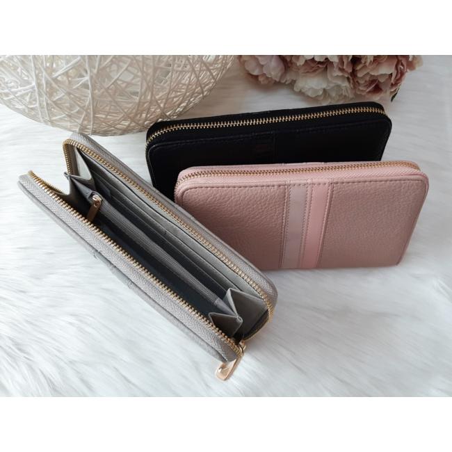 Csíkos mintás egyszínű női pénztárca szürke