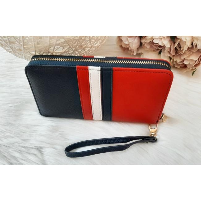 Kék fehér piros csíkos női pénztárca