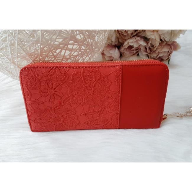 Csipke virág mintás női pénztárca szivecske dísszel piros