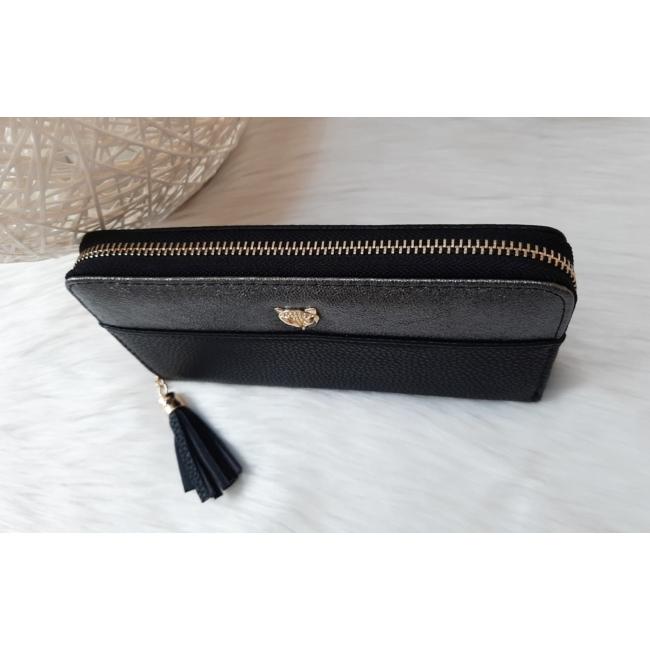 Róka díszes egyszínű női pénztárca fekete
